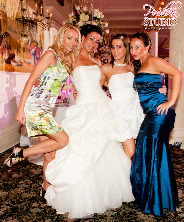 A photo of the bride and her girlfriends at a wedding